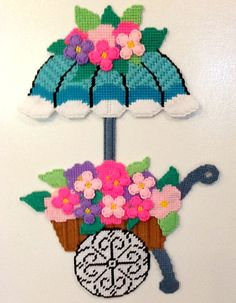 Needlepoint Wall Hanging Flower Cart by TheGiftMonkey on Etsy, $22.00