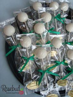 Golf Ball Chocolate Lollipops... Birthday Party, Wedding, Retirement Party, Candy Favors Golf Tournament, Banquet, Golfer  www.rosebudchocolates.com