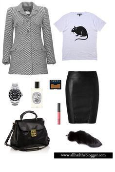 Vintage Chanel Tweed Jacket, Tsubi Rat Print Shirt, Leather Skirt, Nars, Chloe Elsie Bag.