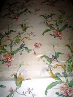 Palmyra - Brunschwig & fils - felicitous, fastidious hand printing in Germany combines strange doves, corn cobs and flowers but it looks marvellous, as though a new world had just been discovered.