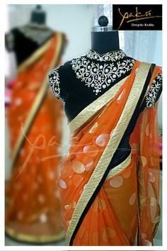 black designer saree blouse