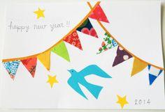 flag garland new year card  2014