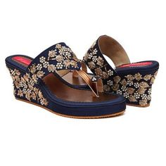 Introducing Bloom Iris, shoes that emit ethnicity to its fullest on a radiant navy blue colour raw silk base! The 3 inch heel height makes these beauties comfortable and at the same time stunning to give you that slight height bump all girls need. Wedding Shoes Heels, Bride Shoes, Indian Shoes, Shoes Stand, Bridal Sandals, Stylish Sandals, Shoes Sandals, Wedge Shoes, Fashion Shoes