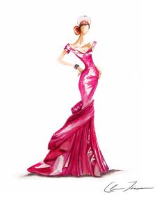 """Red with Envy""   Fashion illustration"