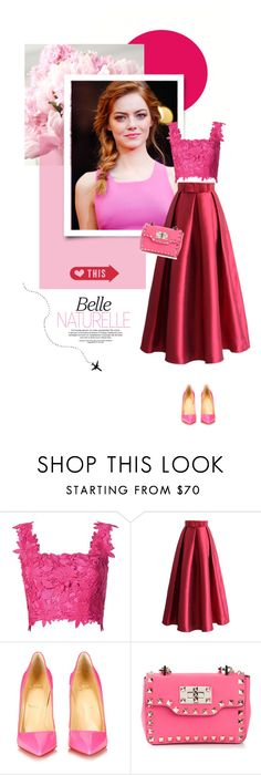 """""""33. Emma Stone"""" by pippi-loves-music ❤ liked on Polyvore featuring GALA, Monique Lhuillier, Chicwish, Christian Louboutin and Valentino"""