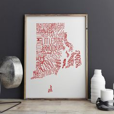 From The Drafting Room  Print of The State of Rhode Island in the Color of Your Choice - Part of my 'Home Sweet Home' Series USE THE SECOND DROP DOWN ABOVE TO SELECT YOUR COLOR!  +To purchase this print in black, use the listing below+ https://www.etsy.com/listing/234825112/state-of-rhode-island-typography-print  This listing is for a print of my original artwork digitally colored. The original work was drawn by hand in archival Pigma ink – no computer generation here...