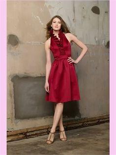 Red Halter Satin Short Bridesmaid Dress