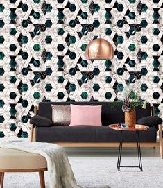 Glamorous wallpaper Hexa Jade Metallic Collection Mind the Gap at Behangfabriek for worldwide shipping Metallic Wallpaper, Cool Wallpaper, Pattern Wallpaper, Beautiful Wallpaper, White Wallpaper, Geometric Wallpaper, Mind The Gap, Eclectic Design, Interior Design