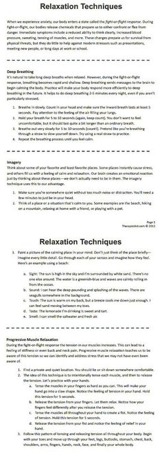 Relaxation Techniques for stress & anxiety (Part of the CBT therapy for self calming & learning to relax before crisis hits)