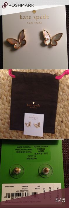 RARE Kate spade butterfly earrings All a flutter - butterfly shaped - posts - gold rimmed mother of pearl design. Light weight and adorable. kate spade Jewelry Earrings