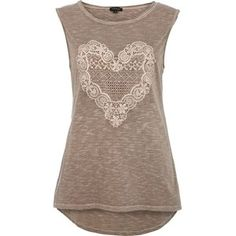 River Island Green lace heart print tank top