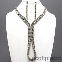 Chunky Silver Chain Crystal Charm Earring Necklace Set Fashion Costume Jewelry