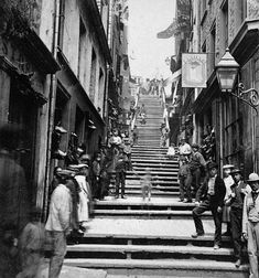 Breakneck Steps, Quebec City, QC, about 1870 - vintage everyday: Old Photographs of Canada from Quebec Montreal, Old Quebec, Quebec City, Samuel De Champlain, Le Petit Champlain, Chateau Frontenac, Photo Vintage, Canada Eh, Canadian History