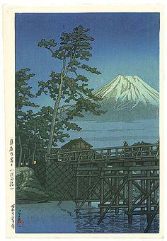 Hasui Kawase: Mt. Fuji and Kawai Bridge (1947)