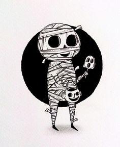 Mummy Art by: Behemot Doodles Halloween Painting, Halloween Drawings, Halloween Art, Drawing Sketches, Art Drawings, Goth Art, Creepy Art, Halloween Horror, Ink Art