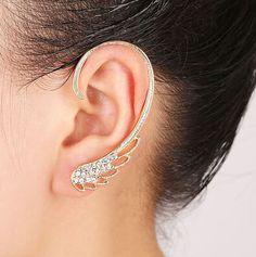 Sale Feather Earings Oorbellen 2017 New Punk Clip Earrings For Women Angel Wing Earring Ear Cuff Brincos Clips For Jewelry Cheap Earrings, Wing Earrings, Cuff Earrings, Clip On Earrings, Golden Earrings, Hanging Earrings, Ear Cuff Jewelry, Feather Jewelry, Jewlery
