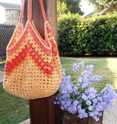 Granny square tote bag. I would love to make this in multi-colors like a Lucy bag. http://attic24.typepad.com/weblog/crochet-bag.html