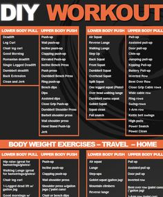 DIY exercise chart If you are not sure what to do at home or the next time you hit the gym this should help you to create your own workout. A list of exercises broken down into bodyweight, upper and lower body, push and pull movements, Even has some inter Push Workout, Workout List, Push Pull Workout Routine, Push Pull Legs Workout, Travel Workout, Workout Guide, Workout Routines, Workout Ideas, Workout Challenge