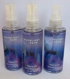 3 PACK Bath & Body Works MOONLIGHT PATH Fragrance Mist Travel Size 3 oz
