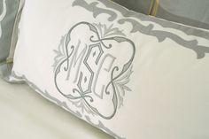 Leontine Linens creates bedding with appliquéd monogram - Master Bathroom Pottery Barn, Leontine Linens, Ikea, Monogram Pillows, Embroidery Monogram, Embroidery Fonts, Custom Embroidery, Embroidery Designs, Diy Photo Booth