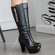 VEUNION » high heels Woman half boots platform Faux pu leather fashion classic winter class female boots chunky heel  warm shoes