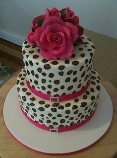 Cheetah and pink roses