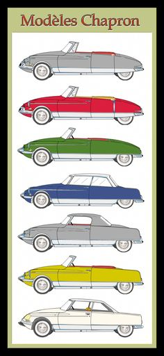 Colors of the Citroën DS Henry Chapron Cabriolets. Series 1, 2 and 3. Drawings create with Canvas.