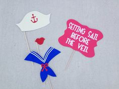 Set of 4 Nautical Themed Bachelorette Party Photo Booth Props; Setting Sail Before the Veil; Blue and Red- by LetsGetDecorative