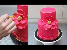 Decorating A Cake - Red & Golden- How To by CakesStepbyStep