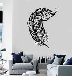 Wall Vinyl Decal Feather Romantic Love Bedroom by BoldArtsy