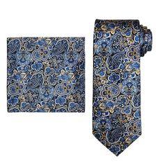 Men's Batik Bay Tie & Pocket Square, Red Overfl