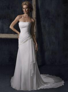 Simple Strapless Asymmetrically Beaded Chiffon Sheath Wedding Dress W1546 $212.79