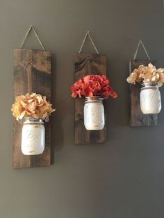 Set of 3 Mason Jar/flower wall sconce - This wall sconce is a great addition to your home decor with beautiful fall colors!! These sets are perfect for any wall in your home, sure to add color to your office, kitchen or living room. Set shown is one of our antique white Fall sets. ♥ Bonus?! Each set can be used time and time again throughout the seasons! Switch out the flowers and youre ready for Christmas, Spring and the 4th of July! ♥ Flower option shown above is a daisy set with Burnt...