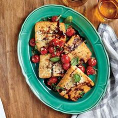 Halibut with Balsamic Cherry Tomatoes Sustainable Choice. For a more budget-friendly option, try substituting a similarly textured fish, such as cod, for the halibut fillets. Halibut Recipes, Fish Recipes, Seafood Recipes, Healthy Recipes, Delicious Recipes, Whole30 Recipes, Tasty, Cherry Tomato Recipes, Bon Appetit