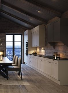 38 Best Ideas For Home Modern Rustic Log Cabins Modern Cabin Interior, Chalet Interior, Cabin Homes, Log Homes, Cabins And Cottages, Log Cabins, Küchen Design, Beautiful Kitchens, Home Kitchens