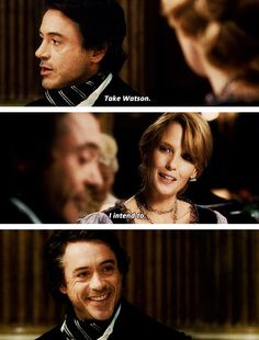 "Holmes's ""someday soon I'm gonna throw you out of a train"" smile. And in ""The Game of Shadow"" He did threw her out of a train Sherlock Holmes Robert Downey, Sherlock Tv, Robert Downey Jr., Sherlock Quotes, Jude Law, John Watson, Warner Bros Movies, Holmes Movie, Literary Characters"