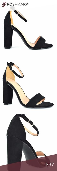 """Women's Ankle Strap Black Chunky Heeled Sandal Synthetic Imported Syntheticc sole Shaft measures approximately 3.5"""" from arch Platform measures approximately .25"""" Open Toe Covered Adjustable Ankle Strap Closure Women's Heeled Sandal Approx. 4.0"""" Heel Height Block Chunky Heel Chase & Chloe Luna-1 Chase & Chloe Shoes Heels"""