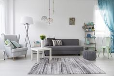 Modern living room interior with a grey armchair - Stock Photo , Living Room Grey, Living Room Interior, Living Rooms, Sol Pvc Imitation Parquet, Apartment Plants, Grey Armchair, Apartment Decorating On A Budget, My First Apartment, Room Additions