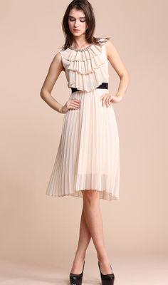 Beige Sleeveless Ruffles Front Pearls Neckline Pleated Silk Dress