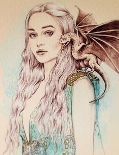 Mother of Dragons Game of Thrones Daenerys by mbaileyillustrations