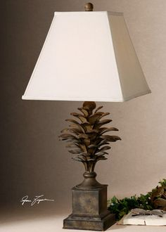 Metal Pine Cone Table Lamp Lodge Cabin Nature Home Decor Lighting | eBay