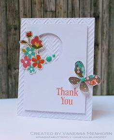 Love the embossed background, and the punched out circle on this thank you card.