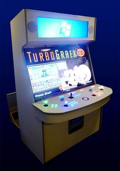 This extraordinary arcade cabinet was built by Jack Thompson and the crew at ArcadesRFun with a massive Samsung 55-inch LED/LCD Smart TV, and full controls for up to four players. It's also got a second 37″ LG marquee display at the top so it can display different images up there during gameplay.