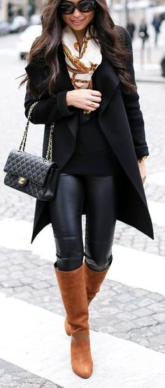 #thanksgiving #fashion · Black Coat // Printed Scarf // Channel Bag // Leather Leggings // Camel Boots // Black Top