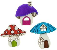 Fancy and Decorative {Assorted Sizes 27 - 30mm w/ Back Hole} 3 Pack of 'Popper Shank' Sewing and Craft Buttons Made of Acrylic Resin w/ Bright Unique Outdoor Fantasy Mushroom House {Assorted Colors} >>> Want to know more, click on the image.