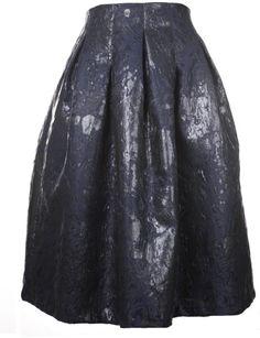 The P Blue Night Pleated Midi Skirt in Black