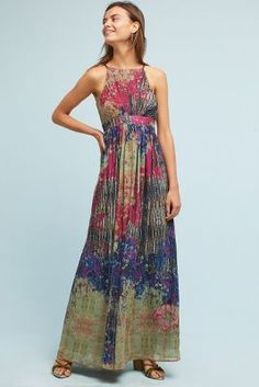 Abstracted Floral Maxi Dress | Anthropologie
