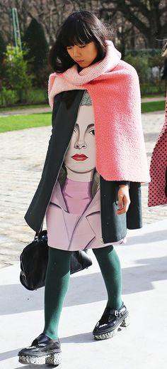 Susie Bubble - coral, pink, uniform green