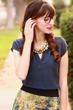 Firmoo Glasses, navy silk blouse, Anthropologie skirt