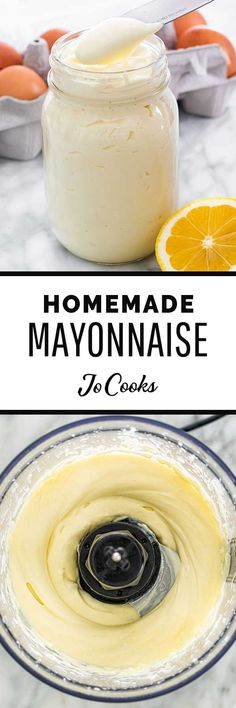 A Homemade Mayonnaise recipe sure to impress. Made with only 4 simple ingredients, in under 5 minutes - use for sandwiches, salads, dips and more! #mayonnaise #homemade #recipe